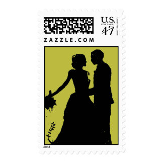 Vintage Bride Groom Silhouette Wedding Postage