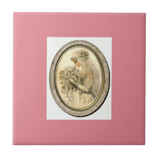 Vintage Bride Pink Ceramic Tile