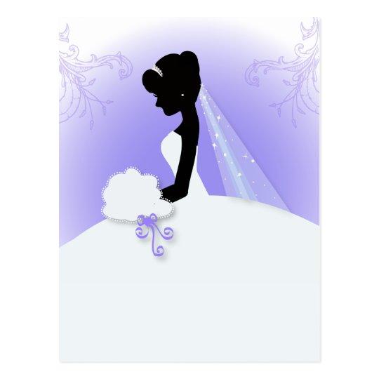 vintage bride silhouette wedding thank you postcard