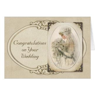 Vintage Bride Wedding Congratulations Cards