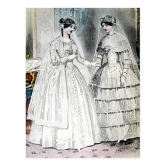Vintage Bride Wedding Dress Postcard