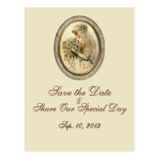 Vintage Bride Wedding Save the Date Cream Post Cards