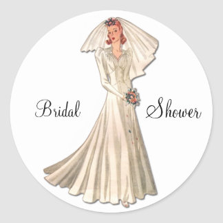 Vintage Bride Wedding Shower Envelope Seal Round Stickers