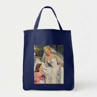 Vintage Bride with Flower Girl on Her Wedding Day Grocery Tote Bag