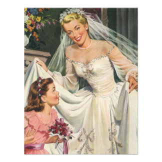 Vintage Bride with Flower Girl on Her Wedding Day Personalized Invite