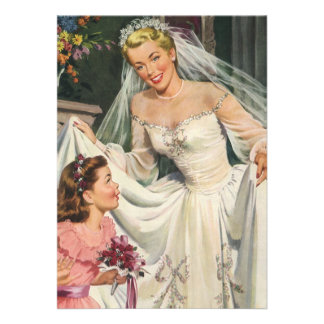 Vintage Bride with Flower Girl on Her Wedding Day Invite