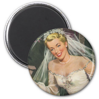 Vintage Bride with Flower Girl on Her Wedding Day 2 Inch Round Magnet