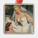 Vintage Bride with Flower Girl on Her Wedding Day Christmas Ornament