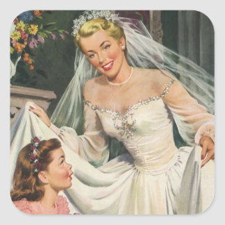 Vintage Bride with Flower Girl on Her Wedding Day Square Sticker