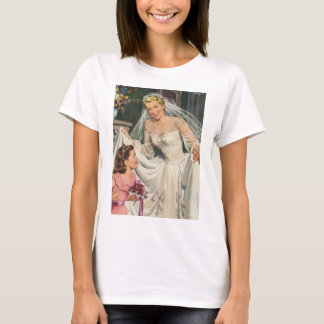 Vintage Bride with Flower Girl on Her Wedding Day T-Shirt