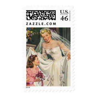Vintage Bride with Flower Girl stamp