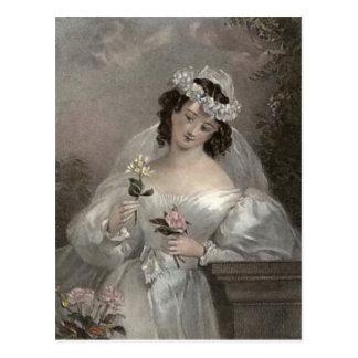 Vintage Bride with Flowers Postcard