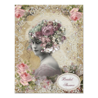 Vintage Bride with Jewels & Flowers Bridal Shower 4.25x5.5 Paper Invitation Card