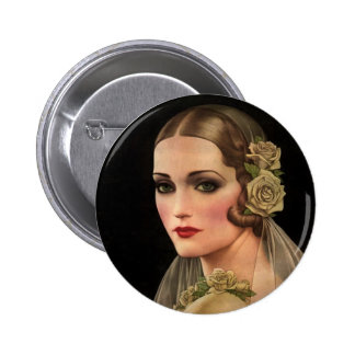 Vintage Bride with Roses Pinback Button