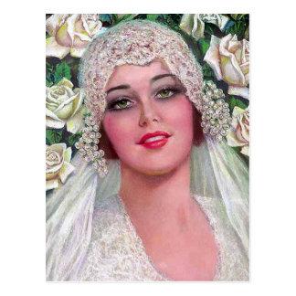 Vintage Bride with Roses Postcard