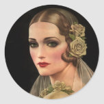 Vintage Bride with Roses Round Sticker