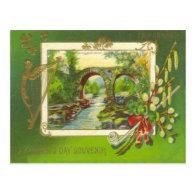 Vintage Bridge Pipe Harp of Erin St Patrick's Day Postcards