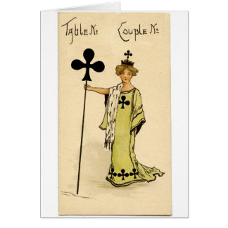 Vintage Bridge table marker card Queen of Clubs