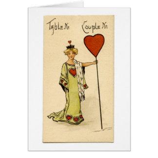 Vintage Bridge table marker card Queen of Hearts