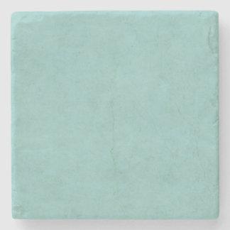 Vintage Bright Aqua Blue Green Paper Parchment Stone Coaster