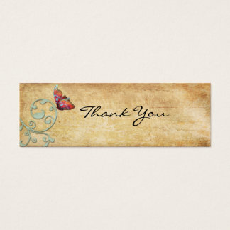 Vintage Bright  Butterfly Thank You Note Mini Business Card