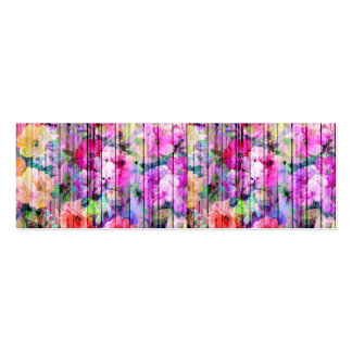 Vintage Bright Chic Floral Pattern Purple Wood Double-Sided Mini Business Cards (Pack Of 20)