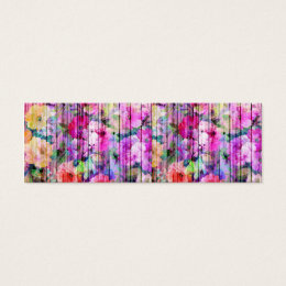 Vintage Bright Chic Floral Pattern Purple Wood Mini Business Card