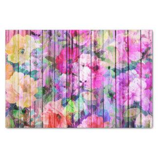 Vintage Bright Chic Floral Pattern Purple Wood Tissue Paper