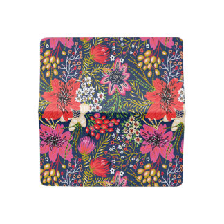 Vintage Bright Floral Pattern Checkbook Cover