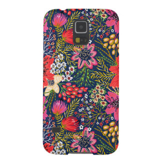 Vintage Bright Floral Pattern Fabric Case For Galaxy S5