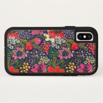 Vintage Bright Floral Pattern Fabric iPhone X Case