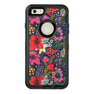 Vintage Bright Floral Pattern Fabric OtterBox Defender iPhone Case