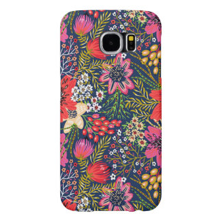 Vintage Bright Floral Pattern Fabric Samsung Galaxy S6 Case