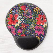 Vintage Bright Floral Pattern Gel Mouse Pad