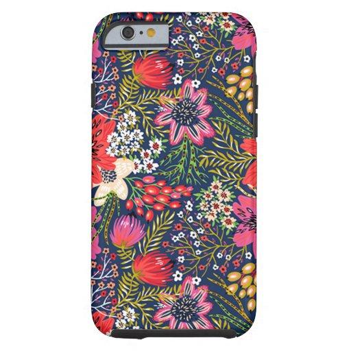 Vintage Bright Floral Pattern Tough iPhone 6 Case