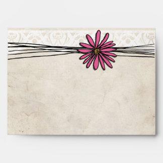 Vintage Bright Pink Daisy Envelope