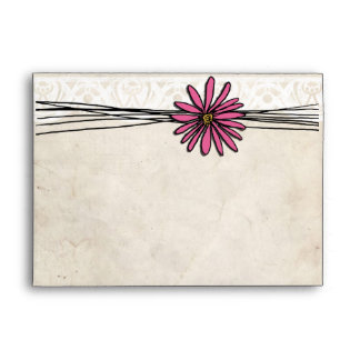 Vintage Bright Pink Daisy Envelopes