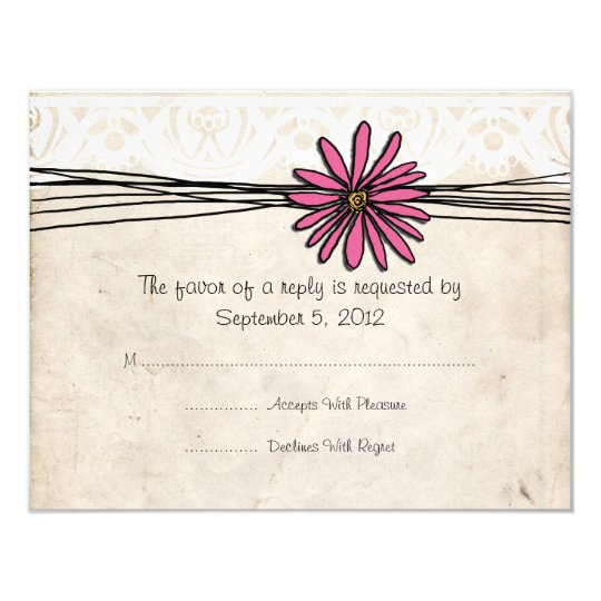 Vintage Bright Pink Daisy Wedding RSVP Card