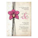 Vintage Bright Pink Orchid Wedding Invitation