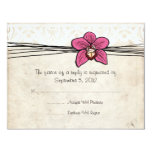 Vintage Bright Pink Orchid Wedding RSVP Custom Announcement