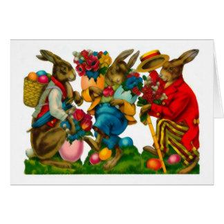 Vintage brillante de los conejitos de pascua tarjeta pequeña