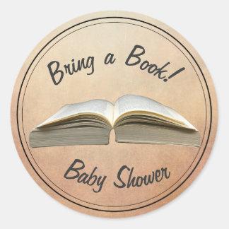 Vintage Bring a Book Baby Shower Classic Round Sticker