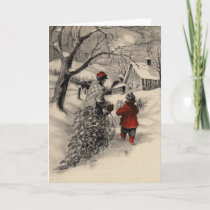 Vintage Bringing Home the Christmas Tree Card