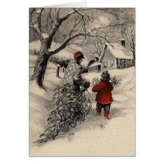 Vintage Bringing Home the Christmas Tree Card at Zazzle