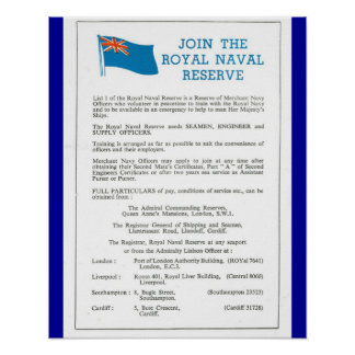 Vintage Britain,1939, Join the Royal Naval Reserve Poster