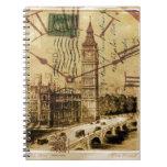 vintage british architecture london big ben spiral note books