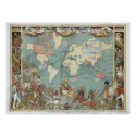 Vintage British Empire 1886 world map poster