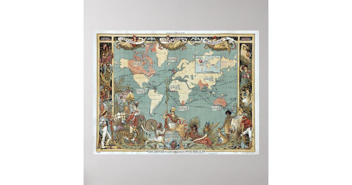 Vintage british empire world map 1886 poster zazzle gumiabroncs Gallery