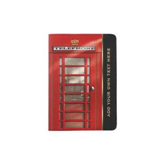 Vintage British Red Telephone Box Personalized Passport Holder