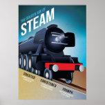 Vintage British Steam Locomotive Poster